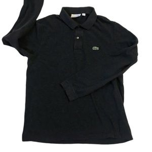 Lacoste Dark Gray Long Sleeve Polo Shirt Size L